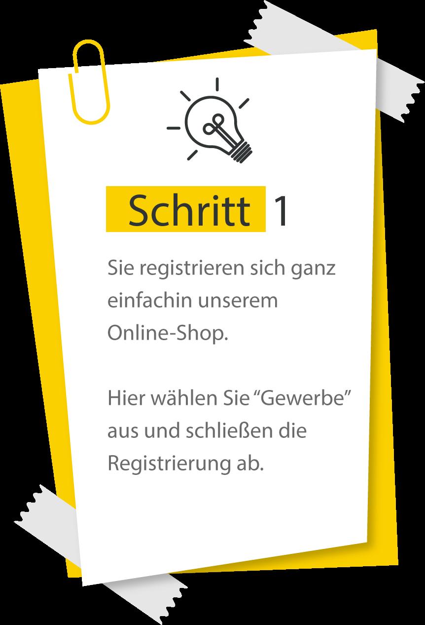 Schritt 1 der Registrierung b2b